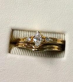 14ky marquee diamond wedding set$745