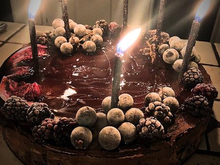 Dark Chocolate, Blood Orange, Pomegranate Ice Cream Cake