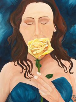 Vrouw met roos  60 x 80