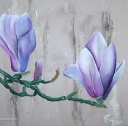 Magnolia met zand en krijt acryl (50x50)