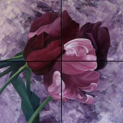4-luik met paarse tulpen 100x100 cm kopi