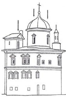 Вид скита патриарха Никона с тропинки ведущей от монастыря