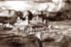 Неревский Кром с дубовой Софией.Новгород, X век. Художник Г.Борисевич.