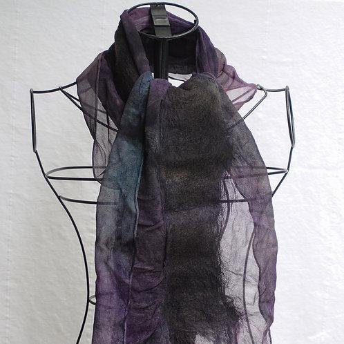 Purple and Black Nuno Felt Scarf