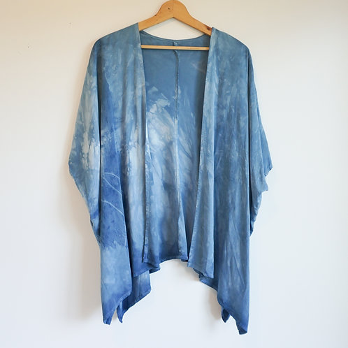 Rayon Cardigan dyed with indigo