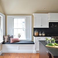 White cabinetry soapstone counters