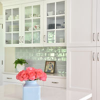 white cabinetry Cambria counters blue gray tile