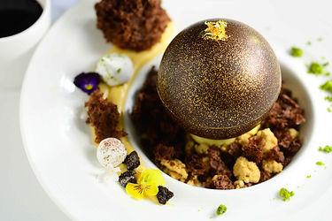 Chocolate sphere, vanilla Ice cream with