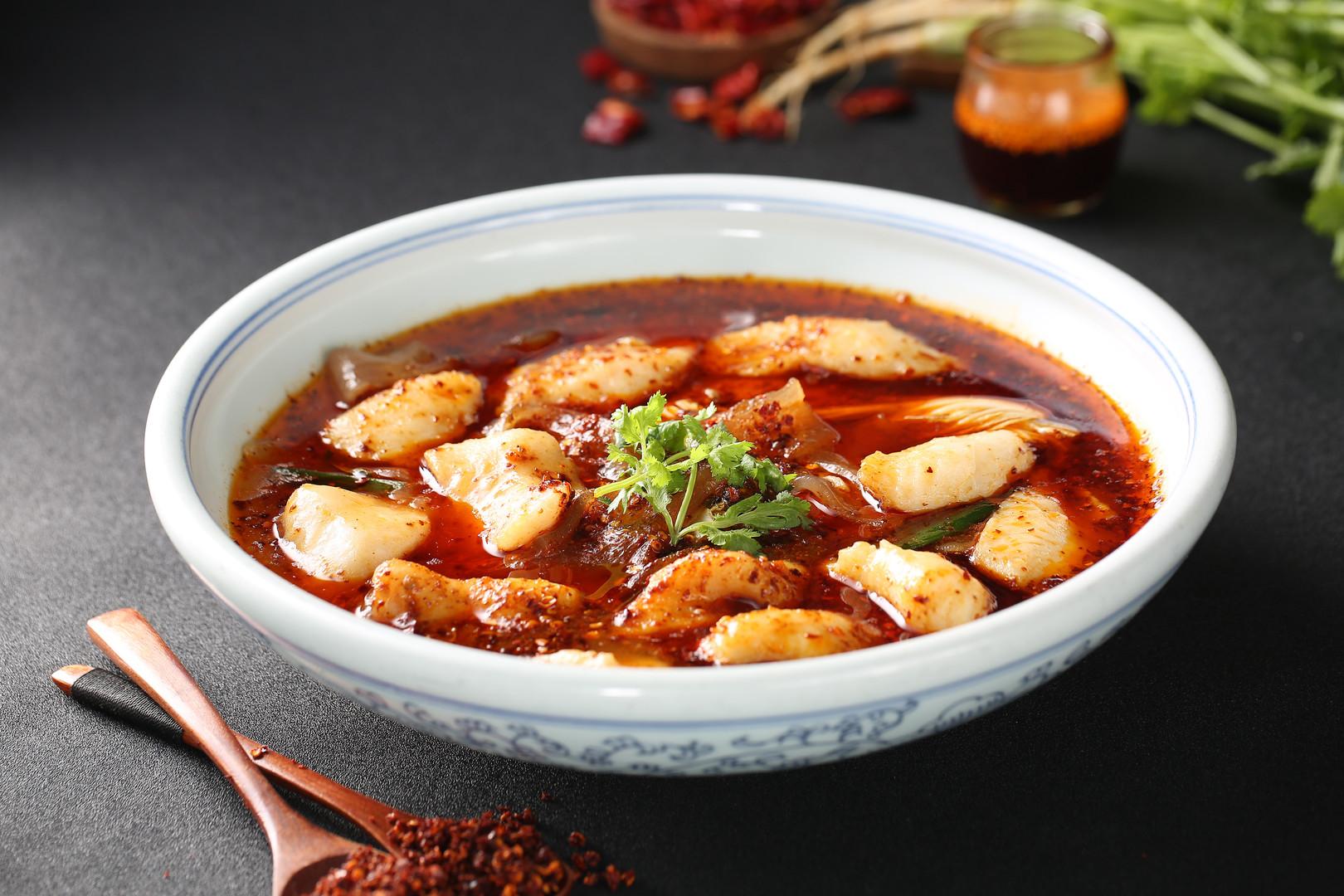 Braised sliced mandarin fish in red chil