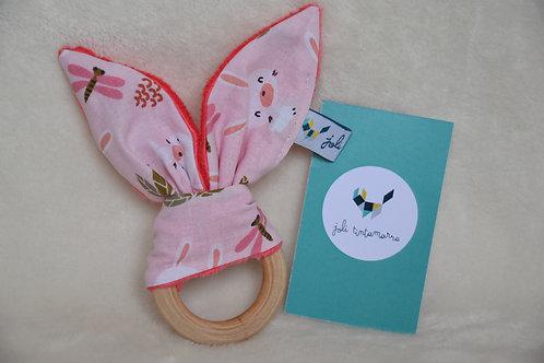 Hochet lapinou lapins rose