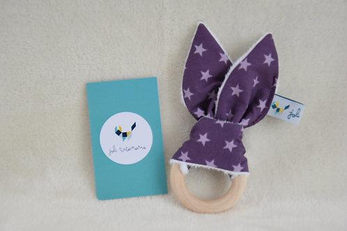 Hochet lapinou violet étoiles