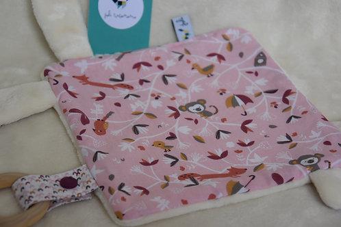 Doudou animaux de la forêt rose