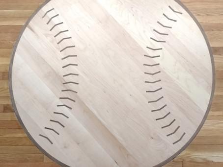 Custom Hardwood Floor Design: Baseball Medallion