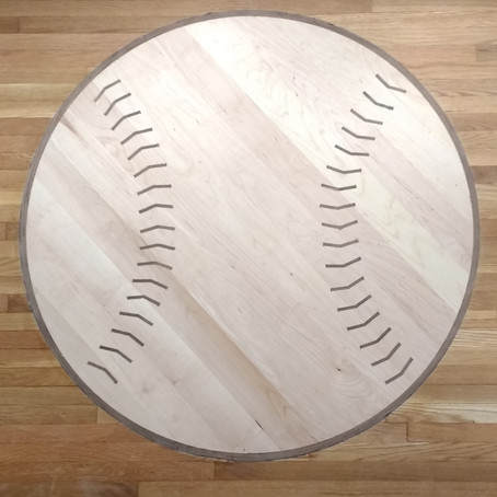 Custom Hardwood Floor Design: Baseball Medallion