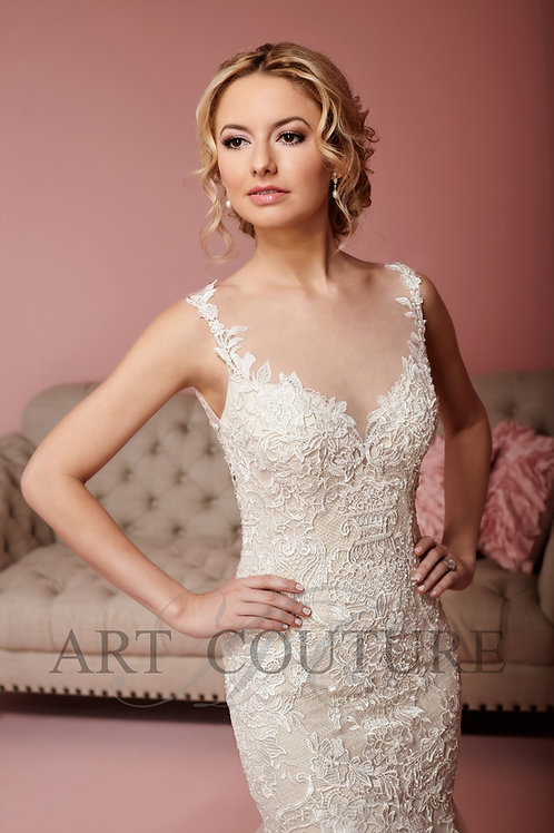 Art Couture Ivory Lace Fishtail Gown