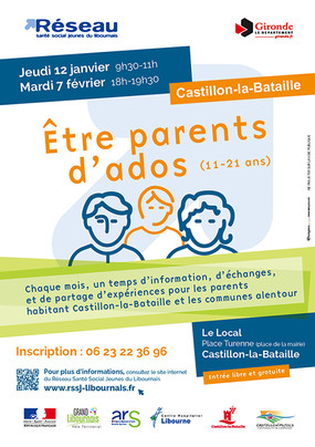 """Atelier """"Etre parents d'ados"""", 7 février 2017, Castillon-la-Bataille"""
