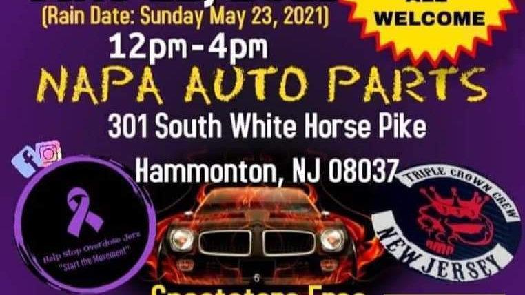 Vehicle Registration- Saturday May 22 Help Stop Overdose Jerz & TCC Auto Show