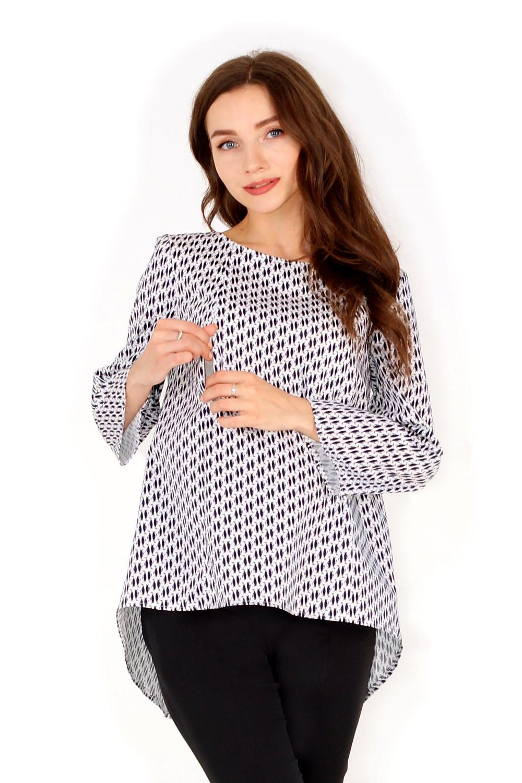 Блузка для вагітних вільного крою підходить для носіння на всіх строках та має застібки для годування малюка