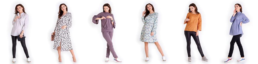 Нова колекція у продажу. Одяг для вагітних та для годування. Універсальні блузки та дуже гарні сукні для стильних майбутніх мам