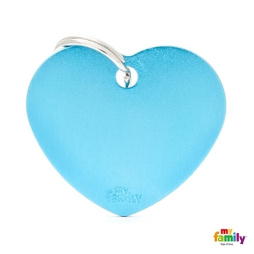 ID TAG BASIC COLLECTION BIG HEART LIGHT BLUE IN ALUMINUM