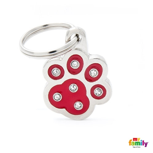 "CHIC ""RED PAW STRASS"" ID TAG"