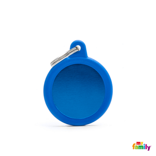 HUSHTAG - ALUMINIUM BLUE CIRCLE WITH BLUE RUBBER