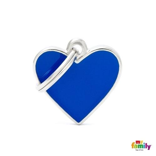 BASIC HANDMADE SMALL BLUE HEART ID TAG