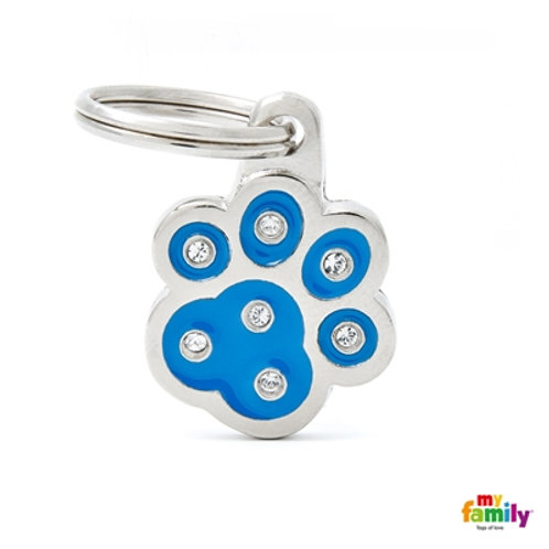 "CHIC ""BLUE PAW STRASS"" ID TAG"