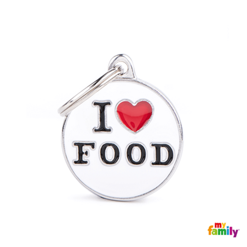 "ID TAG MEDIUM CIRCLE ""I LOVE FOOD"""