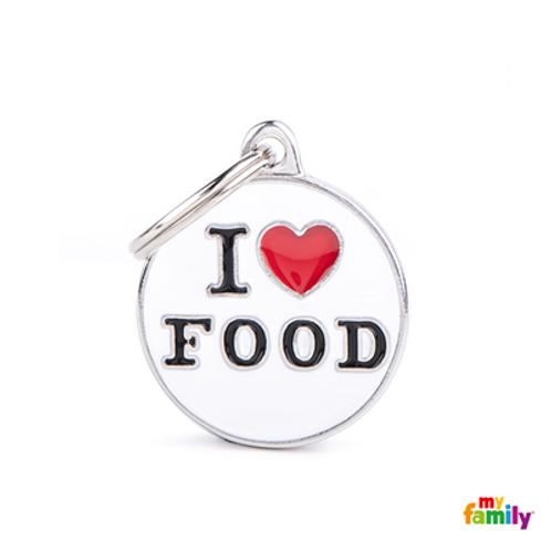 """ID TAG MEDIUM CIRCLE """"I LOVE FOOD"""""""