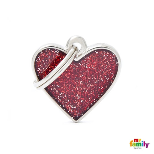"SHINE ""SMALL HEART RED GLITTER"" ID TAG"