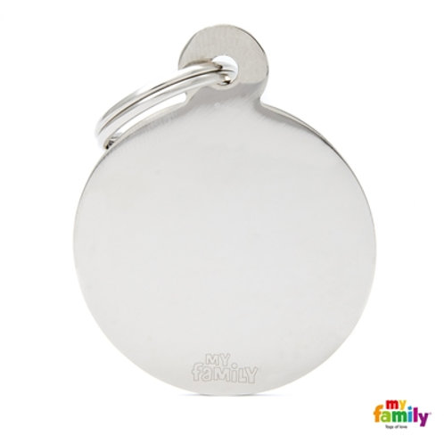ID TAG BASIC COLLECTION BIG ROUND IN CHROME PLATED BRASS