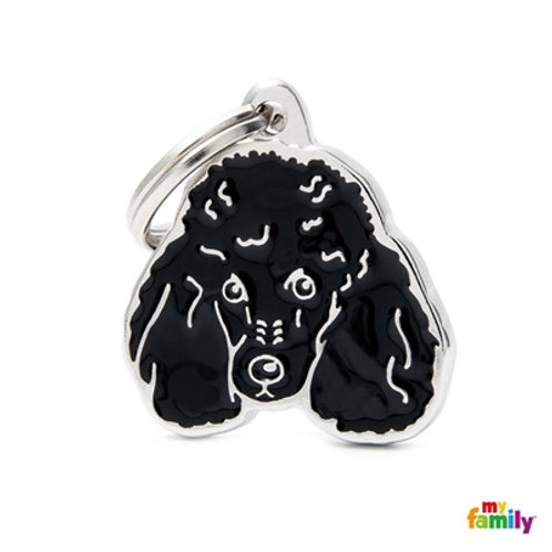 NEW BLACK POODLE ID DOG TAG