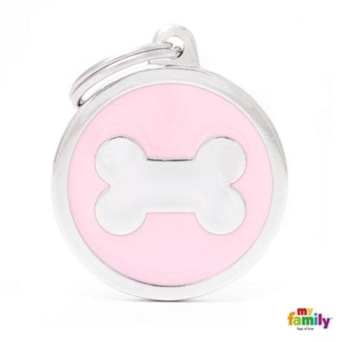 CLASSIC BIG PINK CIRCLE BONE ID TAG