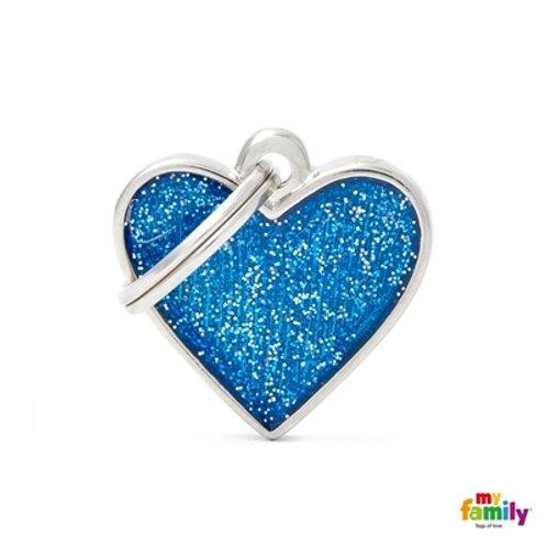"SHINE ""SMALL HEART BLUE GLITTER"" ID TAG"