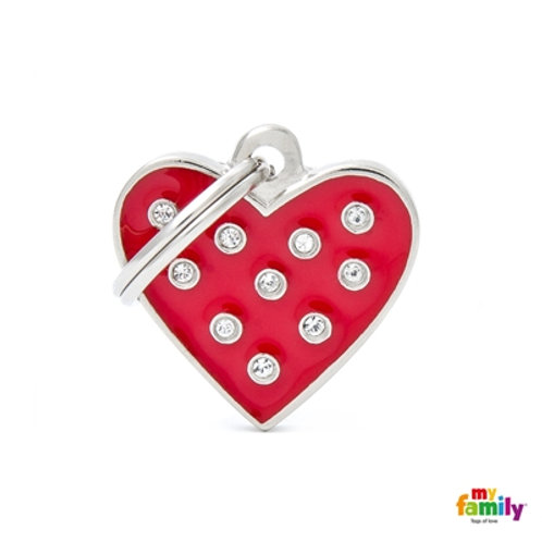 "CHIC ""RED HEART STRASS"" ID TAG"