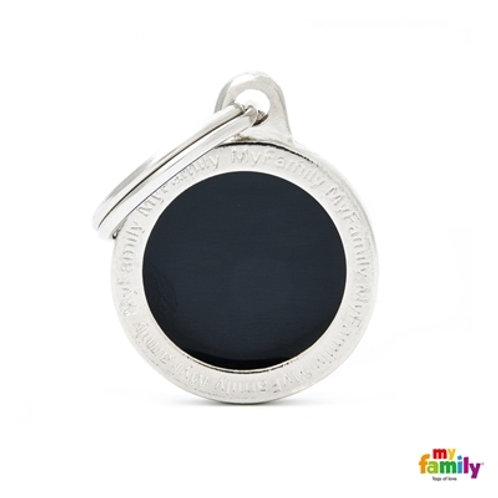 CLASSIC SMALL BLACK CIRCLE ID TAG