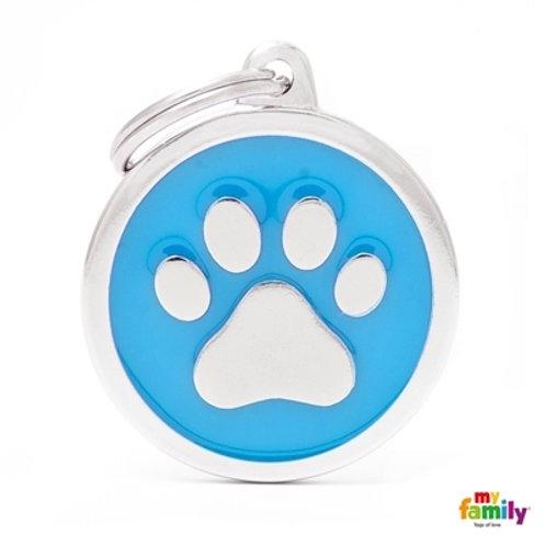 CLASSIC BIG LIGHT BLUE CIRCLE PAW ID TAG