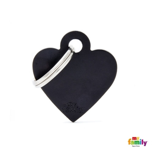ID TAG BASIC COLLECTION SMALL HEART BLACK IN ALUMINUM