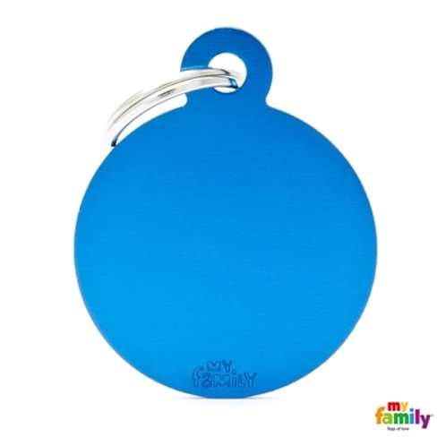 ID TAG BASIC COLLECTION BIG ROUND BLUE IN ALUMINUM