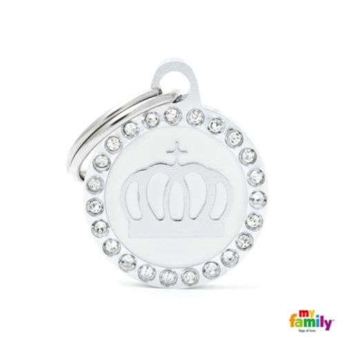 """GLAM """"CROWN WHITE CIRCLE STRASS"""" ID TAG"""