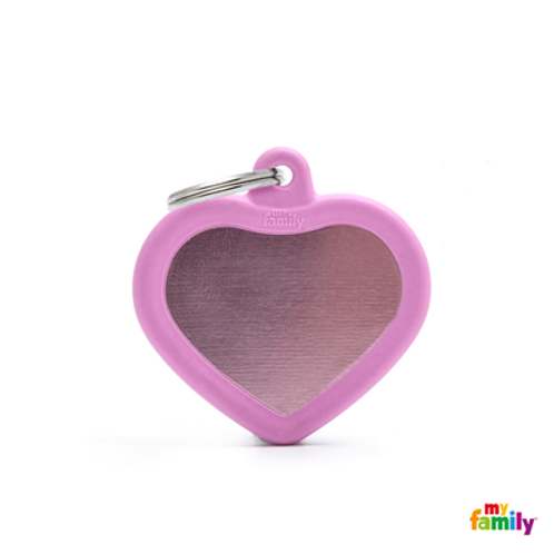 HUSHTAG - ALUMINIUM PINK HEART WITH PINK RUBBER