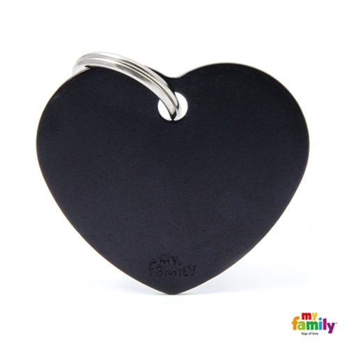 ID TAG BASIC COLLECTION BIG HEART BLACK IN ALUMINUM