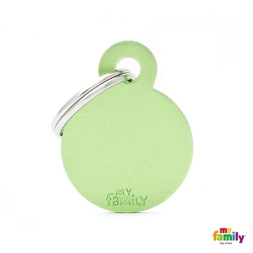 ID TAG BASIC COLLECTION SMALL ROUND GREEN IN ALUMINUM