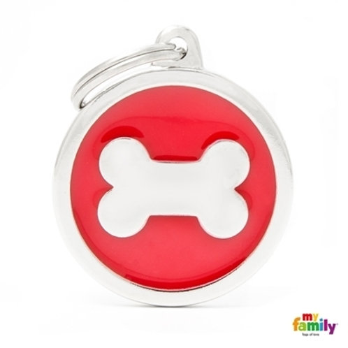 CLASSIC BIG RED CIRCLE BONE ID TAG