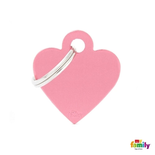 ID TAG BASIC COLLECTION SMALL HEART PINK IN ALUMINUM