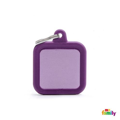 HUSHTAG - ALUMINIUM PURPLE SQUARE WITH PURPLE RUBBER