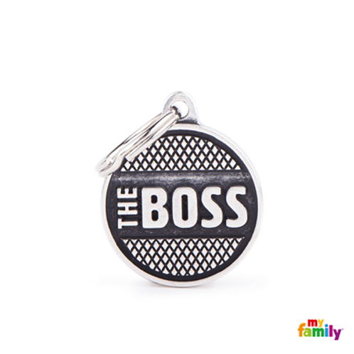 "ID TAG MEDIUM CIRCLE ""THE BOSS"" RHOMBUS"