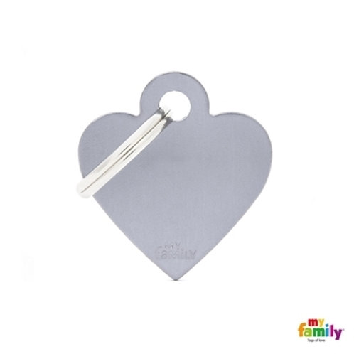 ID TAG BASIC COLLECTION SMALL HEART GREY IN ALUMINUM