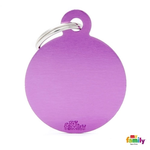 ID TAG BASIC COLLECTION BIG ROUND PURPLE IN ALUMINUM